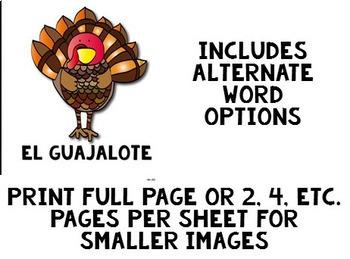 El Día de Acción de Gracias Word Wall / Bulletin Board