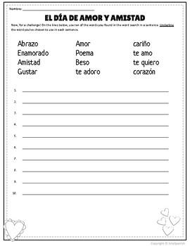 Spanish Valentine's Day Feliz Día de Amor y Amistad Word Search