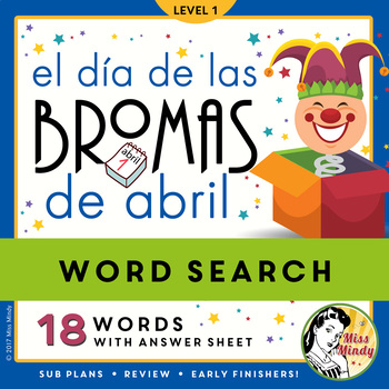 El Día de Las Bromas de Abril Spanish April Fool's Day Word Search Puzzle