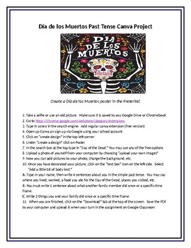 El Día de Los Muertos preterite poster using Canva