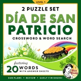 El Día de San Patricio Spanish St Patrick's Day Crossword Puzzle & Word Search