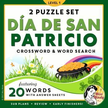 El Día de San Patricio Spanish St Patrick's Day Word Search Puzzle