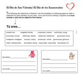 El Dia de San Valentin Spanish Adjectives Practice and Valentine Templates