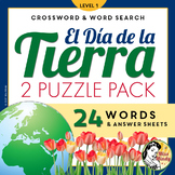 El Día de la Tierra: Spanish Earth Day Crossword Word Search Puzzle Set