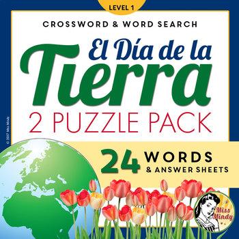 El Día de la Tierra: Spanish Earth Day Crossword Word Search Puzzle Set