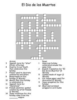 El Dia de los Muertos Crossword