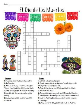 El Dia de los Muertos Crossword Puzzle
