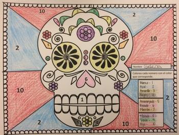"""El Día de los Muertos (Day of Dead) """" Los Colores """" Sugar Skull Coloring Page"""