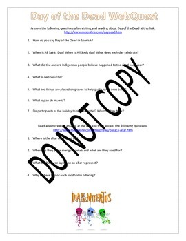 El Día de los Muertos - Day of the Dead 5 Day Lesson Plan Activity Pack