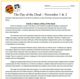 El Dia de los Muertos: Day of the Dead Reading Activities & Sub Plan
