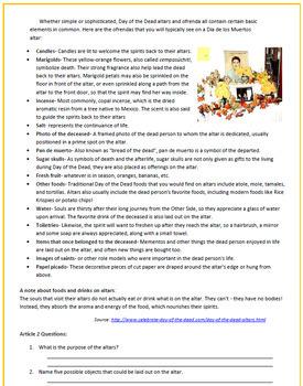 El Dia de los Muertos: Day of the Dead Reading Activities & Sub Plan