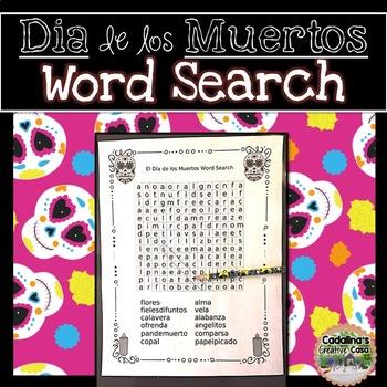 El Día de los Muertos (Day of the Dead) Word Search and Answer Key