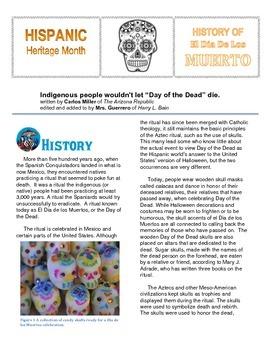 El Dia de los Muertos Hispanic Heritage Informational Text with Questions