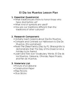 El Dia de los Muertos lesson plan (Day of the Dead)/ art integration