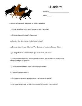 """""""El Encierro"""" Running of the Bulls/Festival of San Fermín Worksheet"""