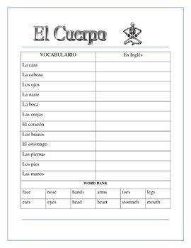 El Cuerpo - El Esqueleto- Label the Skeleton & Body Parts