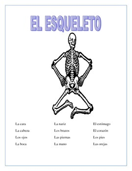 El Esqueleto- Label Body Parts in Spanish- Back to School