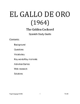 El Gallo de Oro-Spanish Study Guide