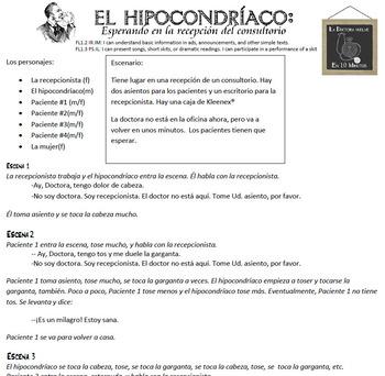 El Hipocondríaco: Esperando en la recepción del consultorio- Skit script