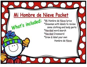 El Hombre de Nieve  (Navidad Activity) Spanish Christmas Activity