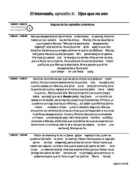El Internado Study Guide for Episode 3 Ojos que no ven