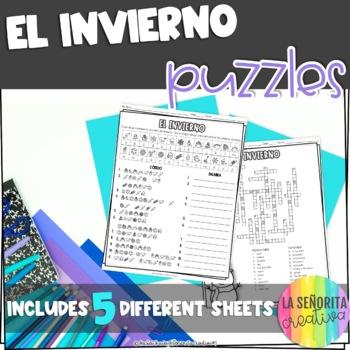 El Invierno Vocab Puzzles (Winter Wordsearch and Crossword)