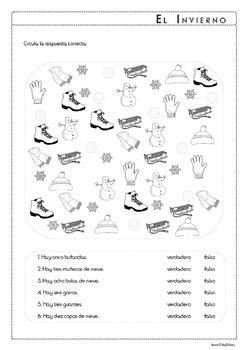 El Invierno - Winter Spanish Vocabulary