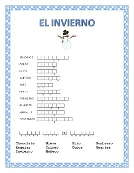 Winter Word Search and Double Puzzle-Spanish