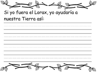 El Lorax blank writing page in Spanish for a Kindergarten