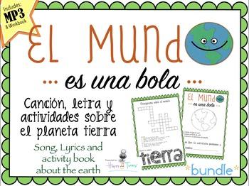 El MUNDO Bundle Cancion MP3 y actividades Español. The Earth, song Spanish.