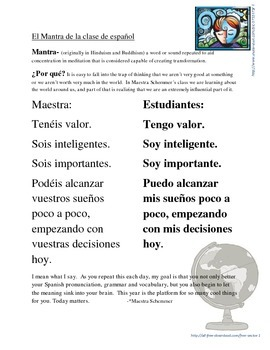El Mantra:  positive repetition to begin class
