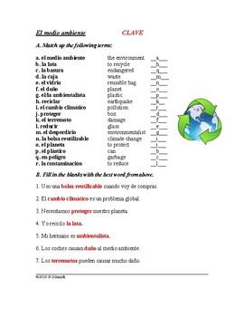 El Medio Ambiente: Spanish Worksheet on Environment: Earth Day / Día de Tierra
