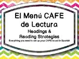 El Menu CAFE de Lectura - CAFE Menu in SPANISH Chevron Theme
