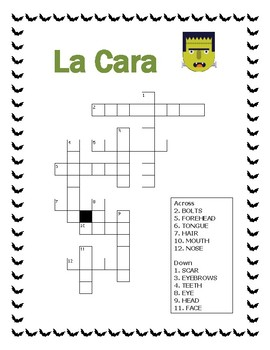 El Monstruo- Label Parts of the Face-Spanish- Word Search- Halloween Themed