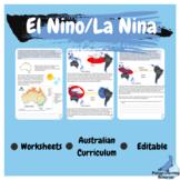 El Nino La Nina Weather Geography Editable Worksheets Aust