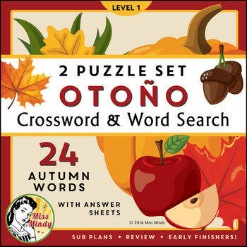 El Otoño: Spanish Autumn Fall Season Vocabulary Crossword Puzzle Worksheet