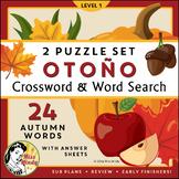 El Otoño: Spanish Autumn Fall Season Vocabulary Crossword Word Search Puzzle Set