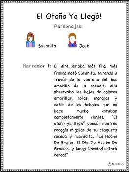 """Spanish Reader's Theater Script: Fall, Autumn  """"El Otoño Ya Llegó"""""""