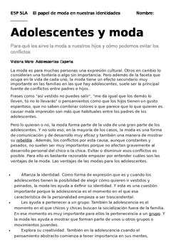 El Papel de Moda en Nuestras Identidades: Article and Reading Questions