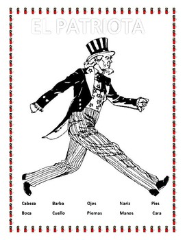 El Patriota- Label Body Parts and Review Clothing in Spanish-Tio Sam- Uncle Sam