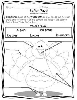 El Pavo - Label parts of the turkey in Spanish