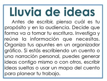 El Proceso de Escritura (The 5-Step Writing Process) - Spanish