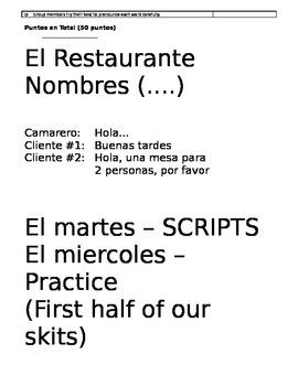 El Restaurante - Spanish Group Skit
