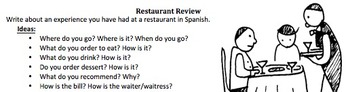 El Restaurante - Spanish restaurant/food unit and two verbs + object pronouns