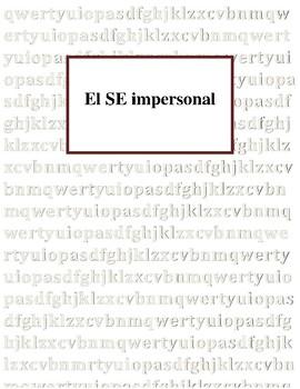 El SE impersonal