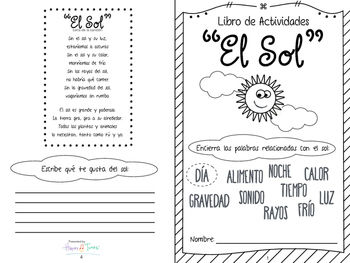 El SOL Booklet imprimible en Español. Ciencias, vocabulario. Spanish science sun