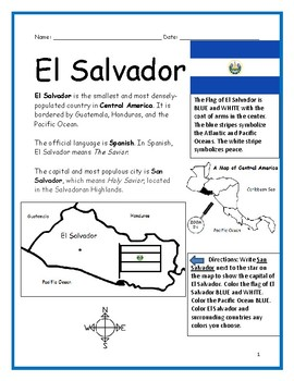 EL SALVADOR Printable handouts include a map and flag to color