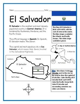 EL SALVADOR - Printable handouts with map and flag