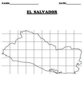 El Salvador Coordinate Grid Map Blank