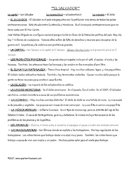 El Salvador Notes and Questions in Spanish